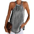Womens Backless Cold Shoulder Halter Denim Vest/Womens Blouses