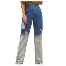 Mchoice Y2K High-Waisted Jeans for Women ,Womens Patchwork Straight Leg Jeans Mid Rise Stretch Frayed Denim Pants Streetwear