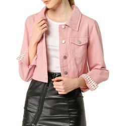 Women's Button Down Long Sleeve Cropped Denim Jean Jacket