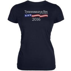 Election 2016 T-Rex President Logo Funny Navy Juniors Soft T-Shirt - 2X-Large
