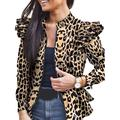 Womens Camouflage Leopard Long Sleeve Jacket Winter Outerwear Ruffle Coats