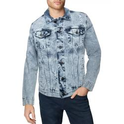 X RAY Mens Denim Jacket Washed Casual Trucker Jean Jacket for Men, Light Denim - Ripped, X-Large