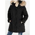 Madden Girl Juniors Women's Faux Fur Trim Hooded Parka Jacket, Black Small- NEW