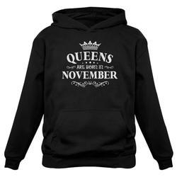 Tstars Womens Birthday Gift for Women Queens Are Born in November Birthday Party B Day Women Hoodie