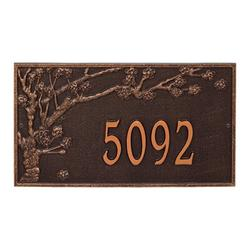 Whitehall Products Spring Blossom Personalized Estate 1-Line Wall Address Plaque Metal in Brown, Size 11.5 H x 20.25 W x 0.375 D in | Wayfair