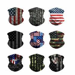 R.Roaring 9Pcs Seamless Face Bandana Multifunctional Neck Gaiter Headwear Face Scarf Mask(American Flag)