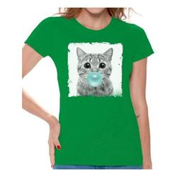 Awkward Styles Funny Animal Clothes Shirt for Woman Lovely Animal Lovers Gifts for Her Cat Clothing Cat T Shirt Cute Animal T Shirt Baby Cat Shirt Women T Shirt Little Cat Blowing Gum T Shirt