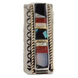 Navajo Handmade Certified Authentic .925 Sterling Silver Inlaid Natural Turquoise Mother of Pearl Spiny Oyster Black Onyx Native American Nickel Money Clip
