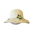 Girl Straw Cap Sun Hat Beach Summer Floral Sun hat 3-7 Years - Blue