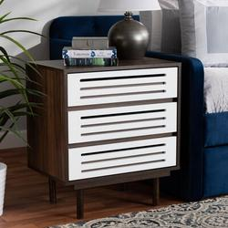 George Oliver Dorrell Mid-Century Modern Two-Tone Walnut & White Finished Wood 3-Drawer Nightstand Wood in Brown, Size 27.0 H x 23.6 W x 15.7 D in