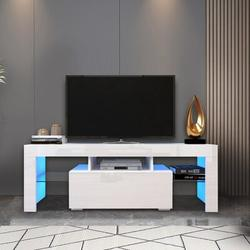 Ivy Bronx Entertainment TV Stand, Large TV Stand TV Base Stand w/ LED Color Changing Lamp TV Cabinet Wood/Glass in White | Wayfair