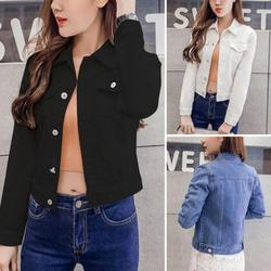 Boyfriend Jean Jacket Women Denim Jackets Vintage Long Sleeve Jacket Casual Slim Coat Candy Color Bomber Jacket