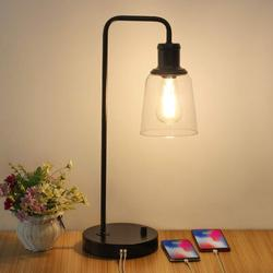 Rosecliff Heights Industrial Table Lamp, Antique Office Lamp w/ Dual USB Ports Antique Desk Lamp Glass Shade Metal Table Lamp, Suitable For Bedroom