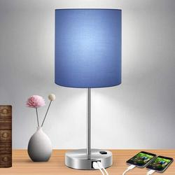 Everly Quinn Touch Control Table Lamp, 3-Way Dimmable Lamp w/ 2 Fast Charging USB Ports & Power Outlet, Bedside Lamp, Nightstand Lamp in Blue