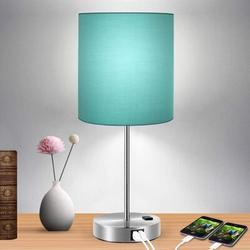 Everly Quinn Touch Control Table Lamp, 3-Way Dimmable Lamp w/ 2 Fast Charging USB Ports & Power Outlet, Bedside Lamp, Nightstand Lamp in Green