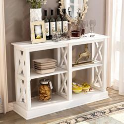 """Breakwater Bay 46"""" Console Table w/ 3 Tiers Storage Space Wooden Side Sofa Table TV Stand X Frame Retro Hallway Entryway Table in White 