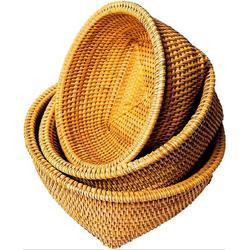 Bay Isle Home™ Rattan Basket, Wicker Bowl | Bread Baskets For Serving | Round Wicker Baskets, Wicker Fruit Basket | Yellow Bread Basket in Brown