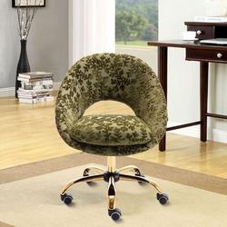 Everly Quinn Swivel Office Chair Adjustable Height Home Office Task Desk Chair Velvet Leisure Chair For Home Office in Green | Wayfair