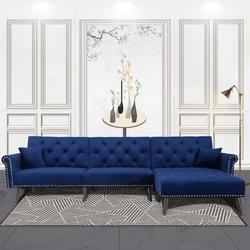 House of Hampton® Convertible Velvet Fabric Sectional Couch w/ Chaise Lounge L-Shaped Reversible Reclining Sofa w/ 3 Seats & Pillows in Blue Wayfair