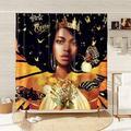 Trinx Black Girl Shower Curtain 3D Black Women Shower Curtain Black Art Shower Curtain African Black Queen Polyester Waterproof Shower Curtain 72X72 Inches