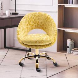 Everly Quinn Swivel Office Chair Adjustable Height Home Office Task Desk Chair Velvet Leisure Chair For Home Office in Yellow | Wayfair