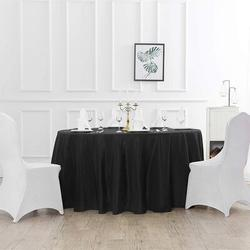 Eider & Ivory™ 108 Inch Round Tablecloth Washable Polyester Table Cloth Decorative Table Cover For Wedding Party Dining BanquetPolyester in Black