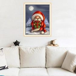 The Holiday Aisle® Santa Claus 5d Diy Diamond Painting Cross Stitch Kit Full Round Resin Diamond Cove Paint By Number Kits For Adults Amd in Red
