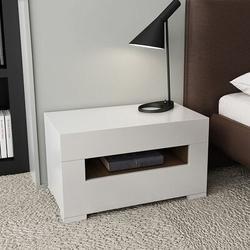 Latitude Run® Modern Nightstand Woodwhite Nightstand 2-Drawer Dresser Bedside Dresser Wood/Upholstered in Brown/White | Wayfair