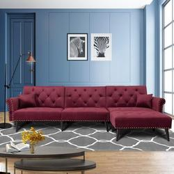 House of Hampton® Convertible Velvet Fabric Sectional Couch w/ Chaise Lounge L-Shaped Reversible Reclining Sofa w/ 3 Seats & Pillows in Red | Wayfair