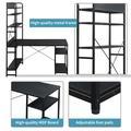 Inbox Zero Home Office Computer Desk——Metal Frame & MDF Board/5 Tier Open Bookshelf/Plenty Storage Space()Wood/Metal in Black | Wayfair