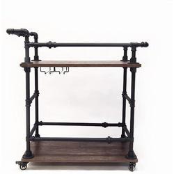 Williston Forge Industrial Bar Cart w/ Wine Rack & Glass Holder, Metal Serving Cart, Kitchen Storage Cart, Brown, Size 32.0 H x 8.0 W x 16.5 D in
