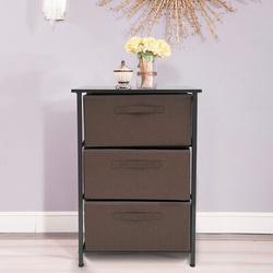 Ebern Designs 3 - Drawer Nightstand Wood in Brown/Green, Size 28.7 H x 17.7 W x 11.8 D in | Wayfair 0C73D60E8BA24F31A7421FCB944CB247