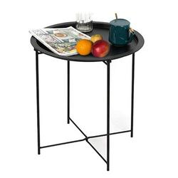 Wade Logan® Uhrichsville Folding Tray Metal Side Table Sofa Table Small Round End Tables Anti-Rust Waterproof Outdoor Indoor Snack Table Accent Coffee Table