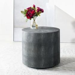 Safavieh Couture Shagreen Drum End Table Glass in Black, Size 18.11 H x 20.08 W x 20.08 D in   Wayfair SFV1507A