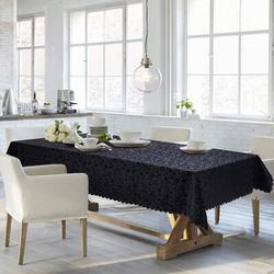 Red Barrel Studio® Retangular Tablecloth,Waterproof Vinyl Table Cloth,Easy Care Dining Table Cover For Indoor & Outdoor Use in Black | Wayfair