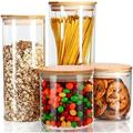 Prep & Savour Airtight Food Storage Containers, Glass Jars w/ Lids, Glass Jar For Serving Candy, Cookie, Rice, Food - Set Of 4 | Wayfair