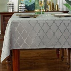 Rosdorf Park Jacquard Tablecloth Flower Pattern Polyester Table Cloth Spill Proof Dust-Proof Wrinkle Resistant Table in Gray | Wayfair