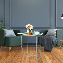 Latitude Run® Folding Tray Metal Side Table, Sofa Table Small Round End Tables, Anti-Rust & Waterproof Outdoor Or Indoor Snack Table in Black
