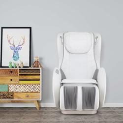 Inbox Zero Massage Chairs SL Track Full Body & Recliner, Shiatsu Recliner, Massage Chair w/ Bluetooth Speaker Faux Leather in White | Wayfair
