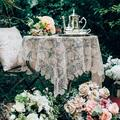 Rosdorf Park Rectangle Small Table Cloth Lace Macrame Vintage Tablecloth Shabby Elegance Embroidered Oblong Table in Yellow, Size 51.0 W x 51.0 D in