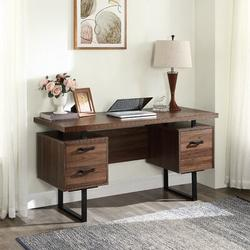 Latitude Run® Home Office Computer Writing Desk w/ Drawers/Hanging Letter-Size Files Wood in Black/Brown/Green, Size 27.5 H x 23.6 W x 59.0 D in