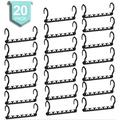 Rebrilliant Plastic Space Saving Hangers Pack Of 20 Cascading Hanger Organizer Closet Space Saver Multifunctional Hangers For Heavy Clothes in Black