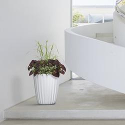 """Crescent Garden Pleat 15"""" Planter (Alpine White) Plastic in Black, Size 15.0 H x 15.0 W x 27.0 D in   Wayfair A663894"""