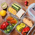 Prep & Savour Glass Meal Prep Containers - Bento Box Glass Lunch Containers - Meal Prep Glass Container - Food Storage Containers w/ Lids in Indigo