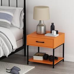 Wade Logan® Sybilla Modern Versatile Nightstands Side End Table Night Stand Storage Shelf w/ Bin Drawer For Living Room Bedroom Wood in Orange/Black