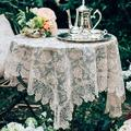 Rosdorf Park Rectangle Small Table Cloth Lace Macrame Vintage Tablecloth Shabby Elegance Embroidered Oblong Table in Yellow, Size 33.0 W x 33.0 D in