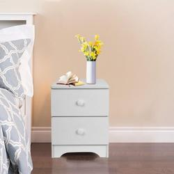 Ebern Designs Storage Cabinet Bedroom Bedside Double Drawer Nightstand Wood in Brown/White, Size 17.72 H x 11.81 W x 12.6 D in   Wayfair