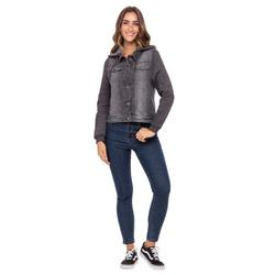 Women's Drawstring Hoodie Denim Jacket Ladies Trucker Jean Jackets With Hood Grey Small