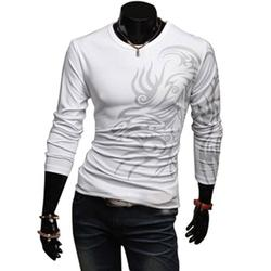 Dragon Tattoo Printing Round Neck Long Sleeve T-Shirt Slim Fit Leisure Top for Men Boys White Xl