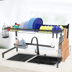 wisdomfurnitureco Over Sink Dish Drying Rack Black- Large Dish Rack Drainer For Kitchen Storage Stainless Steel, Size 21.6 H x 33.4 W x 10.8 D in